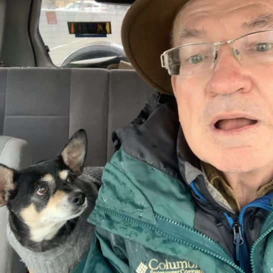 me-and-pancho in car - selfie
