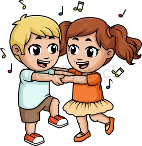 Kids dancing together. PNG - JPG and vector EPS (infinitely scal