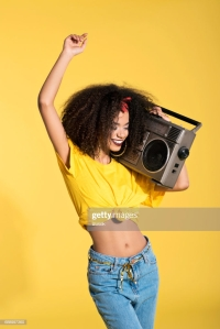 girl with boombox